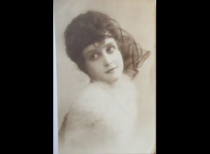 Frau Mode Frisur Haare, Fotokarte ca. 1910 (11553)