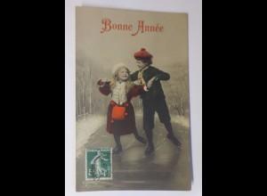 Neujahr, Kinder, Schlittschuhlaufen, Mode, Muff,1906 ♥ (41778)