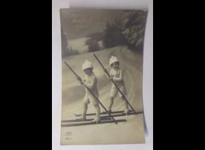 Neujahr, Kinder, Ski, Mode, 1912 ♥ (41775)