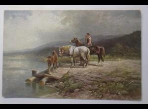 Pferde, Reiter, Landschaft, 1910, Marke Palette ♥ (17894)