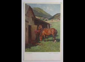 Pferde, Arbeitspferde, 1910, Julius v. Blaas, Wiener Kunst ♥ (17917)