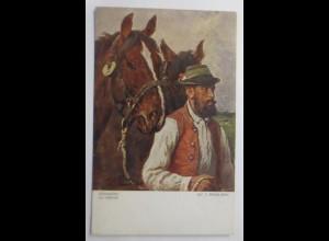 Pferde, Heimwärts, La Rentree, 1910, Julius v. Blaas, Wiener Kunst ♥ (17852)