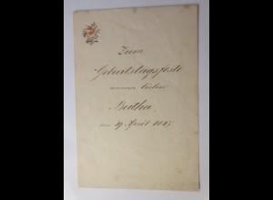 Zierbriefbogen, Briefpapier, Geburtstag, 19,5 cm x 13,2 cm Jahr 1847 ♥ (3F)