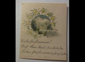 Zierbriefbogen, Briefpapier, Berge, Edelweiß, 11 cm x 9 cm, ca. 1900 ♥ (11F)