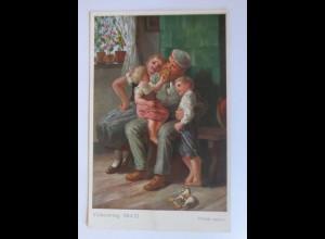 Völkerkrieg, Wieder daheim, Soldat mit Familie 1915 ♥ (20424)
