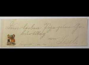 Briefpapier kleiner Zettel, Handgestochen, Oblate, 17,5 cm x 5,5 cm, 1903 ♥(12F)