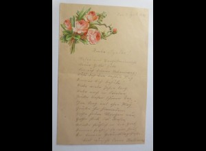 Zierbriefbogen, Briefpapier, Oblaten, 18 cm x 11,5 cm, Jahr 1892 ♥ (20F)
