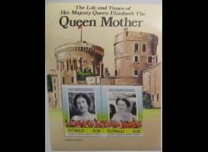 Tuvalu Block Queen Elisabeth I. Queen Mother postfrisch (9095)