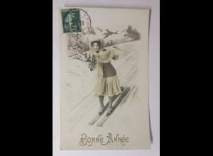 Neujahr, Kinder, Ski, Mode, Disteln, 1912 ♥ (41777)