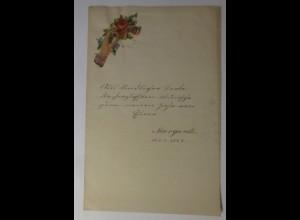 Zierbriefbogen, Briefpapier, Neujahr, Oblate, 21,5 cm x 14 cm, Jahr 1887 ♥ (37F)