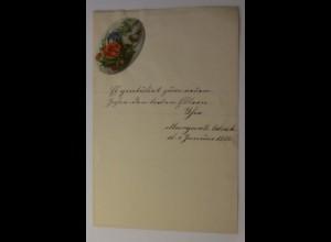 Zierbriefbogen, Briefpapier, Neujahr, Oblate, 21,5 cm x 14 cm, Jahr 1886 ♥ (40F)