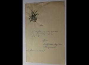 Zierbriefbogen, Briefpapier, Neujahr, Oblate, 22,2 cm x 14,2 cm, Jahr 1891♥(43F)