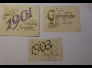 3. Glückwunschkärtchen Neujahr in guter Erhaltung 1901-1903 ♥ (27447)