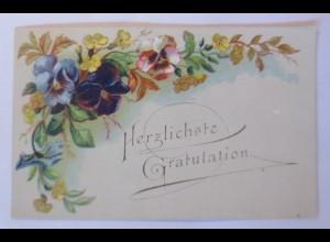 Glückwunschkärtchen Blumenmotiv, 1900, 12 cm x 7,5 cm ♥ (6210)