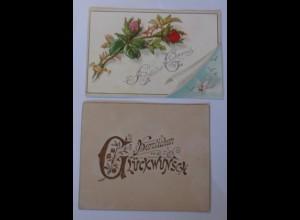2.Glückwunschkärtchen Blumenmotiv, 1900, 10 cm x 7,5 cm ♥ (12097)