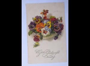 """Namenstag, Blumen, Stiefmütterchen"""" 1927, Meissner & Buch ♥"""