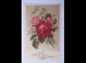 """Namenstag, Blumen, Rosen"""" 1933, Glitzerperlchen ♥"""