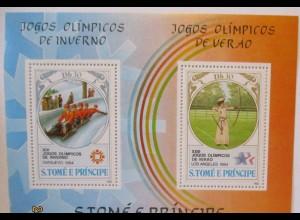 S. Tome e Principe Block Olympia Sarajevo 1984 postfrisch (4542)