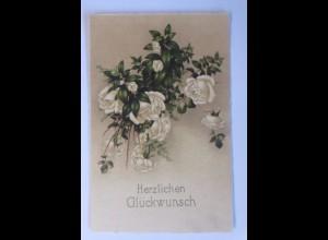 Hochzeit, Blumen, Rosen, 1930, Klappkarte ♥ (56700)