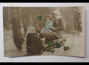 Neujahr, Männer, Frauen, Schlitten, 1925 ♥ (41787)