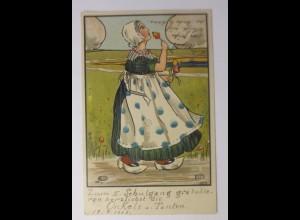 """Frauen, Trachten, Landschaft, Tulpen"" 1905, sig. S.T. ♥"
