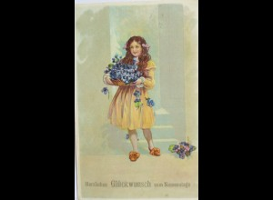 Kinder, Mode, Blumen, Namenstag, 1915 ♥ (3530)