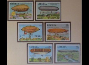 Liberia 801-806 Luftfahrt Zeppeline xx ungezähnt 1978 ♥ (9069)