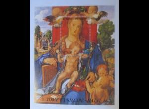 Sao Tome e Principe - Natal Block 988 Gemälde Zeisigmadonna xx 1986 ♥ (65313)