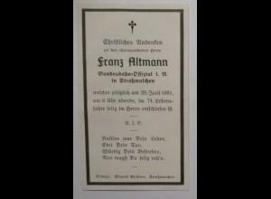 Sterbebild Franz Altmann Bundesbahn Offizial aus Straßwalchen 1951 (22445)