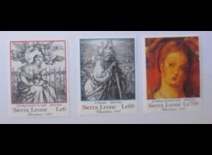 Sierra Leone Stiche u. Gemälde 1752, 1753,1758, A. Dürer 1991 xx ♥ (54621)