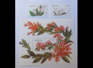 Grenada Blumen Block und 2 Marken ♥ (51216)