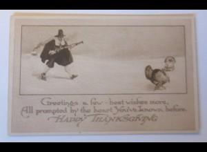 Thanksgiving, Jäger, Truthahn, 1913 ♥ (43948)