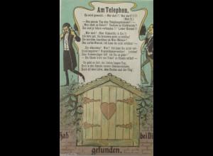 Scherzkarte, Männer, Mode, Telefon,1900, Türchen unten kann man Öffnen ♥ (9785)