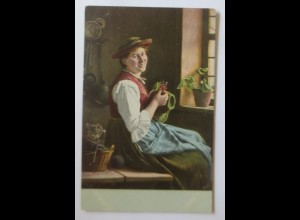 Trachten, Frauen, Katze, Stricksachen, 1900 ♥ (11174)
