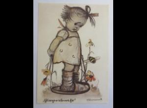 Hummel, Kinder, Mädchen mit Hummel 1980, Emil Fink ♥ (10744)