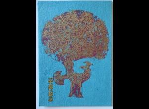 Vögel Pfau , Handdruck auf handgeschöpftem Papier, Klappkarte (44139)