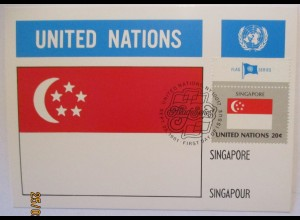 UNO Flaggen Maximumkarte 1981 Singapore (57495)