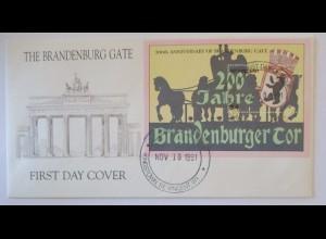 Saint Vincent, Block FDC 1991 Brandenburger Tor (46134)