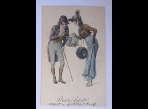 """""""Neujahr, Frauen, Männer, Mode, Käfig, Schwein"""" 1903, Munk Vienne ♥ (48500)"""