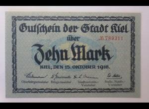 Notgeld Kiel Zehn Mark 1918 Gutschein der Stadt Kiel ♥ (57843)