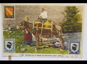 Frankreich Frauen mit Esel, Servante de la Region de Bayeux (4470)