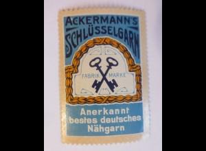 Reklamemarken, Ackermann´s Schlüsselgarn Nähgarn 1910 ♥ (65730)