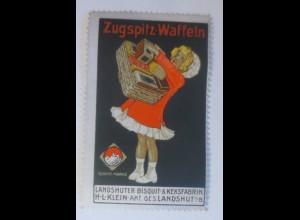 Reklamemarken, Zugspitz-Waffeln Landshuter Bisquit & Kegsfabrik 1910 ♥ (22441)