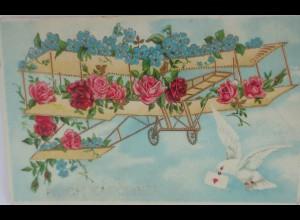 Flugzeug, Tauben, Rosen, Vergissmeinnicht, 1907 ♥ (2817)