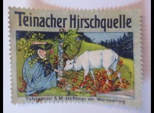 Reklamemarken, Teinacher Hirschquelle Tafelwasser Württemberg 1910 ♥ (66136)
