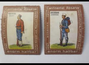 2.Reklamemarken Continental-Absätze Griechenland Infanterie 1900 ♥ (17840)