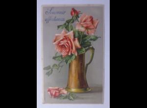 Geburtstag, Rosen, Vase, 1907, Prägekarte ♥ (56431)
