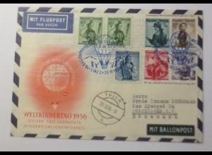 Österreich Ganzsache 16. Ballonpost Wien 1956 ZF Reklame Omo ♥ (62539)