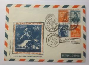 Österreich Ganzsache 10.Ballonpost Wien 1953 ZF Rottemann ♥ (22762)