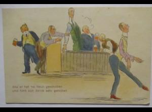 Männer beim Kegeln, Aha er hat ne neune geschoben, Löbau 1925 (7201)
